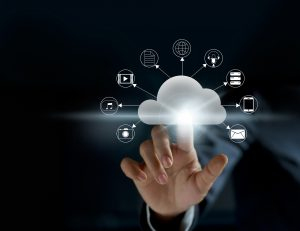 Cloud computing, futuristic display technology connectivity concept